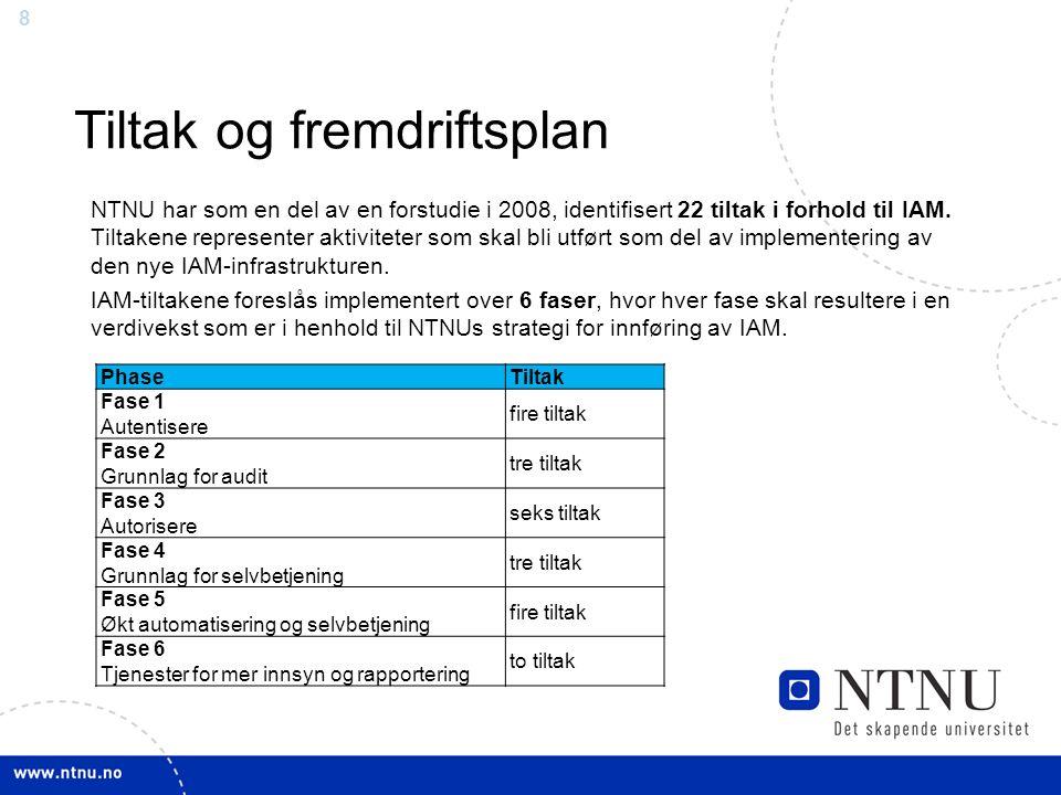 8 Tiltak og fremdriftsplan NTNU har som en del av en forstudie i 2008, identifisert 22 tiltak i forhold til IAM. Tiltakene representer aktiviteter som