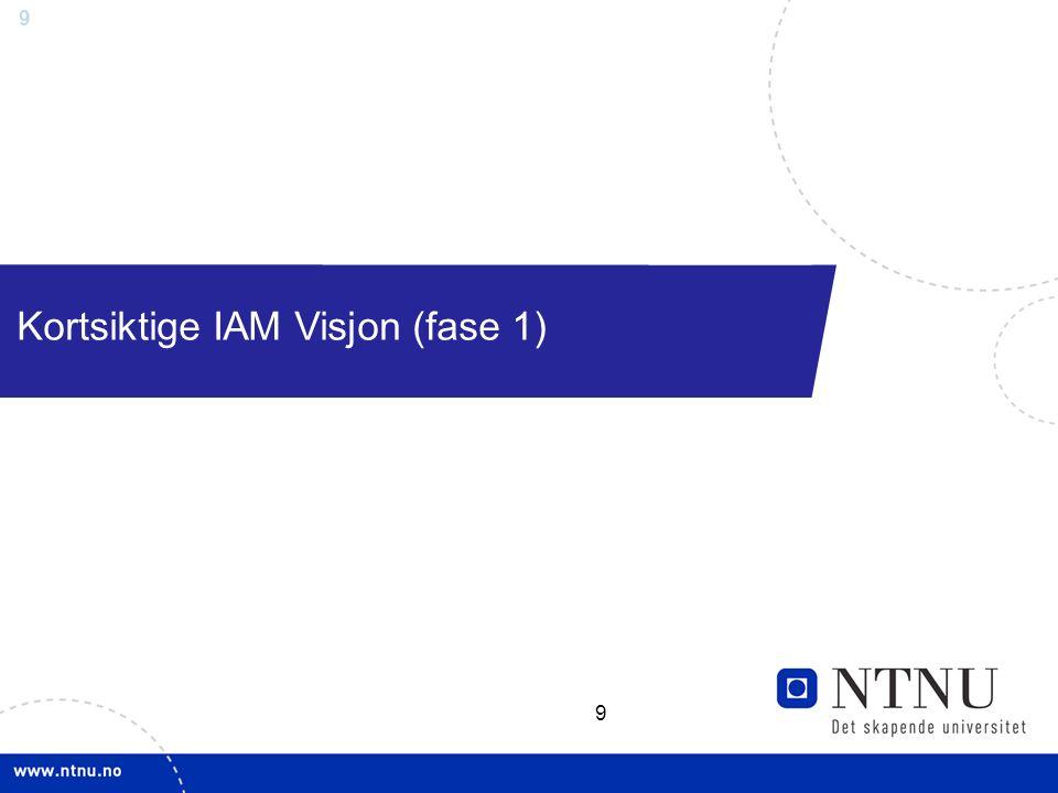 9 Kortsiktige IAM Visjon (fase 1) 9