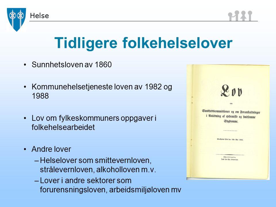 Helse Tidligere folkehelselover Sunnhetsloven av 1860 Kommunehelsetjeneste loven av 1982 og 1988 Lov om fylkeskommuners oppgaver i folkehelsearbeidet