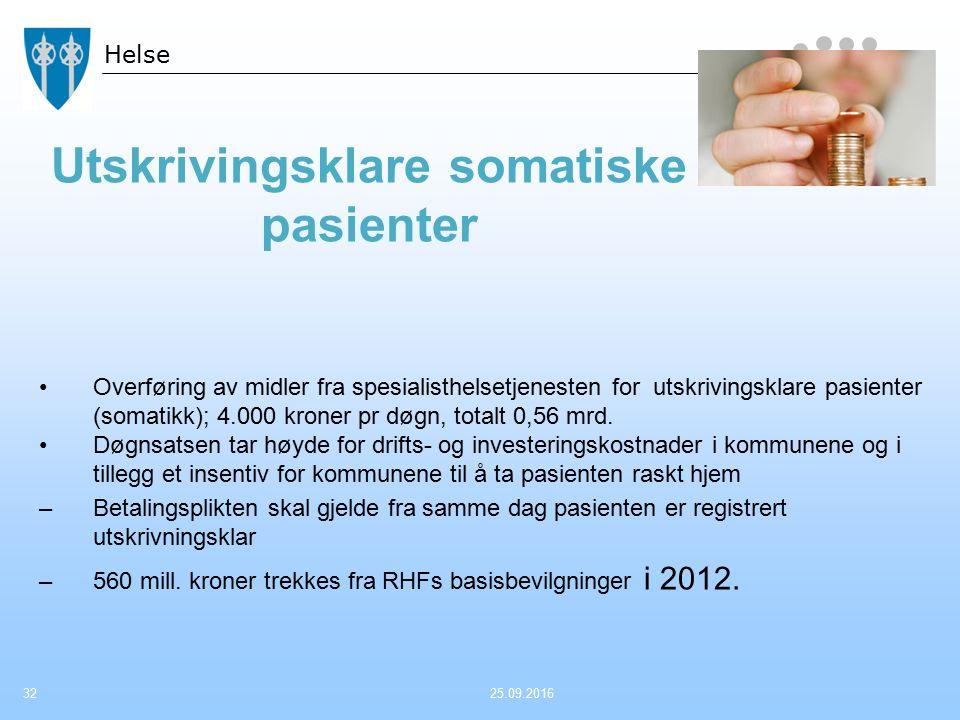 Helse Utskrivingsklare somatiske pasienter Overføring av midler fra spesialisthelsetjenesten for utskrivingsklare pasienter (somatikk); 4.000 kroner p