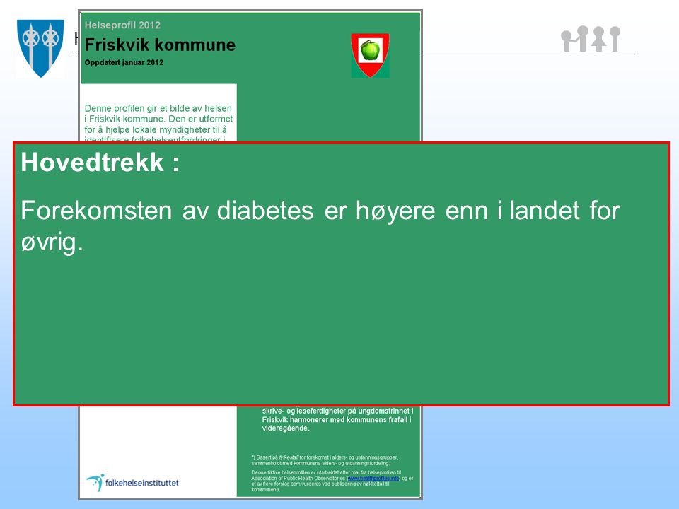 Helse Hovedtrekk: Flere enn ellers i landet dør tidlig av hjertesykdom. Hovedtrekk : Forekomsten av diabetes er høyere enn i landet for øvrig.