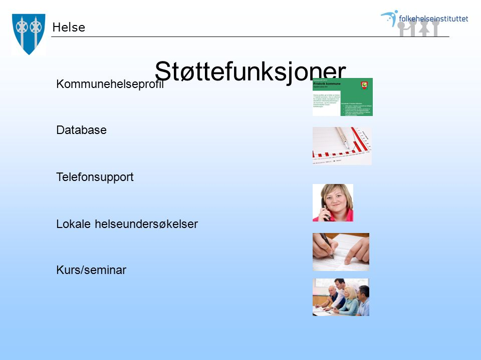 Støttefunksjoner Kommunehelseprofil Database Telefonsupport Lokale helseundersøkelser Kurs/seminar