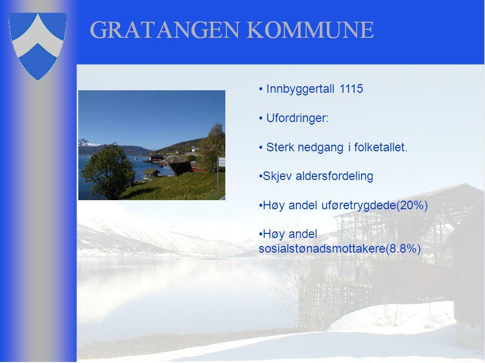 Innbyggertall 1115 Ufordringer: Sterk nedgang i folketallet. Skjev aldersfordeling Høy andel uføretrygdede(20%) Høy andel sosialstønadsmottakere(8.8%)