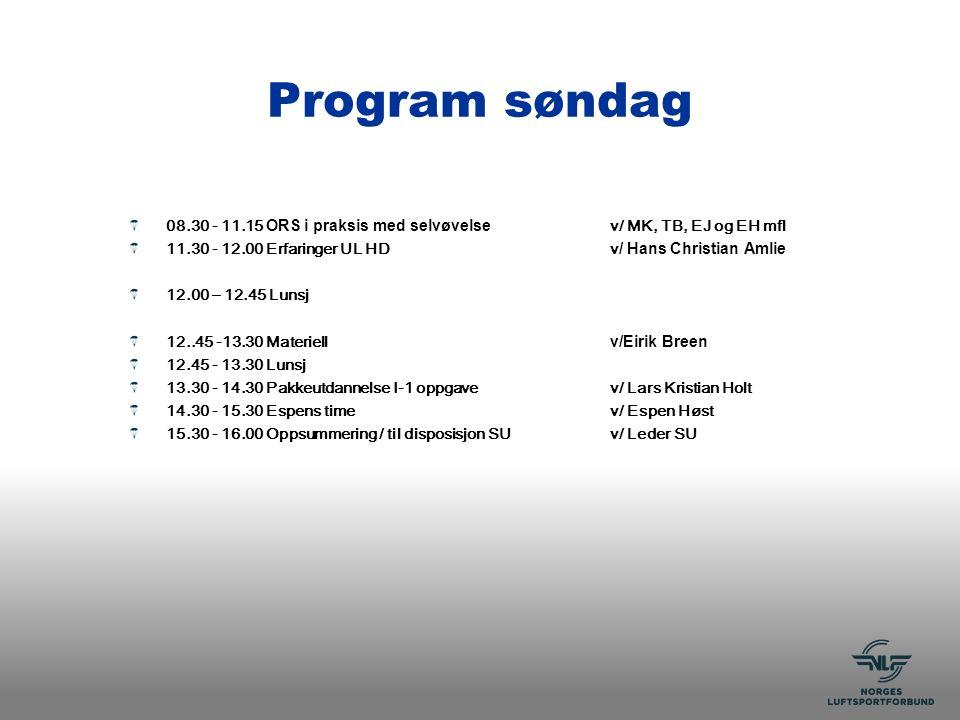 Program søndag 08.30 - 11.15 ORS i praksis med selvøvelse v/ MK, TB, EJ og EH mfl 11.30 - 12.00 Erfaringer UL HDv / Hans Christian Amlie 12.00 – 12.45 Lunsj 12..45 -13.30 Materiell v/Eirik Breen 12.45 - 13.30 Lunsj 13.30 - 14.30 Pakkeutdannelse I-1 oppgavev/ Lars Kristian Holt 14.30 - 15.30 Espens timev/ Espen Høst 15.30 - 16.00 Oppsummering / til disposisjon SUv/ Leder SU