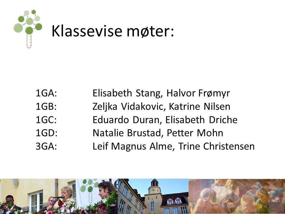 Klassevise møter: 1GA:Elisabeth Stang, Halvor Frømyr 1GB:Zeljka Vidakovic, Katrine Nilsen 1GC:Eduardo Duran, Elisabeth Driche 1GD:Natalie Brustad, Pet