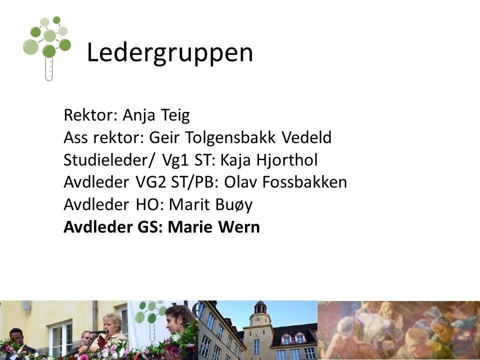 Ledergruppen Rektor: Anja Teig Ass rektor: Geir Tolgensbakk Vedeld Studieleder/ Vg1 ST: Kaja Hjorthol Avdleder VG2 ST/PB: Olav Fossbakken Avdleder HO: Marit Buøy Avdleder GS: Marie Wern