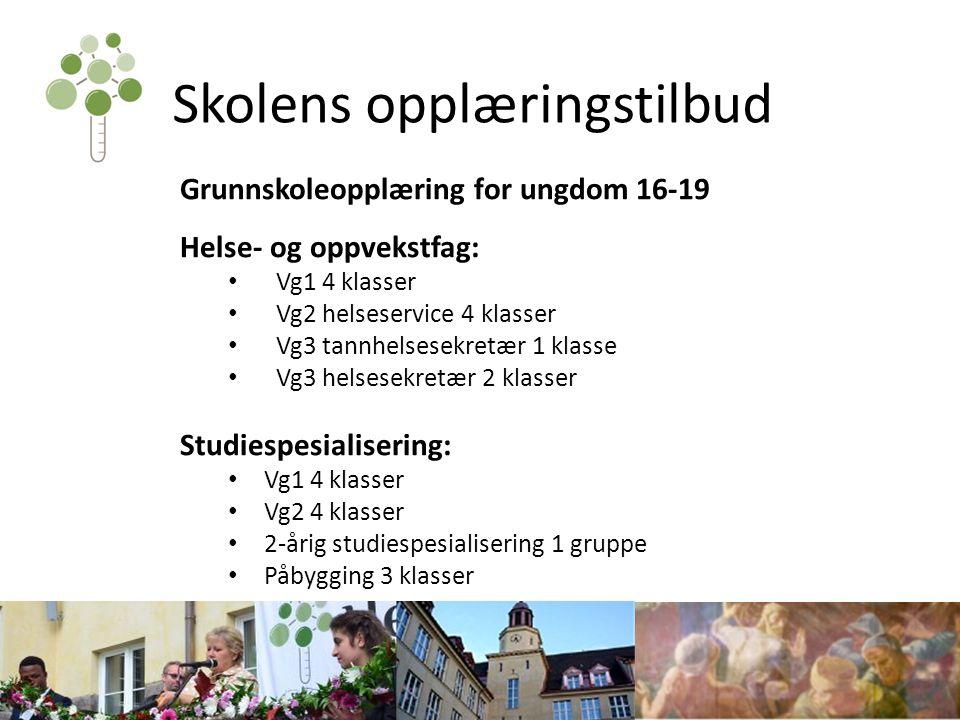 Skolens opplæringstilbud Grunnskoleopplæring for ungdom 16-19 Helse- og oppvekstfag: Vg1 4 klasser Vg2 helseservice 4 klasser Vg3 tannhelsesekretær 1