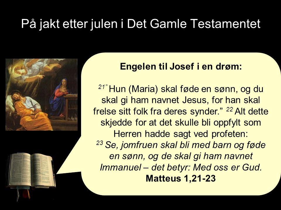 På jakt etter julen i Det Gamle Testamentet Engelen til Josef i en drøm: 21 Hun (Maria) skal føde en sønn, og du skal gi ham navnet Jesus, for han skal frelse sitt folk fra deres synder. 22 Alt dette skjedde for at det skulle bli oppfylt som Herren hadde sagt ved profeten: 23 Se, jomfruen skal bli med barn og føde en sønn, og de skal gi ham navnet Immanuel – det betyr: Med oss er Gud.
