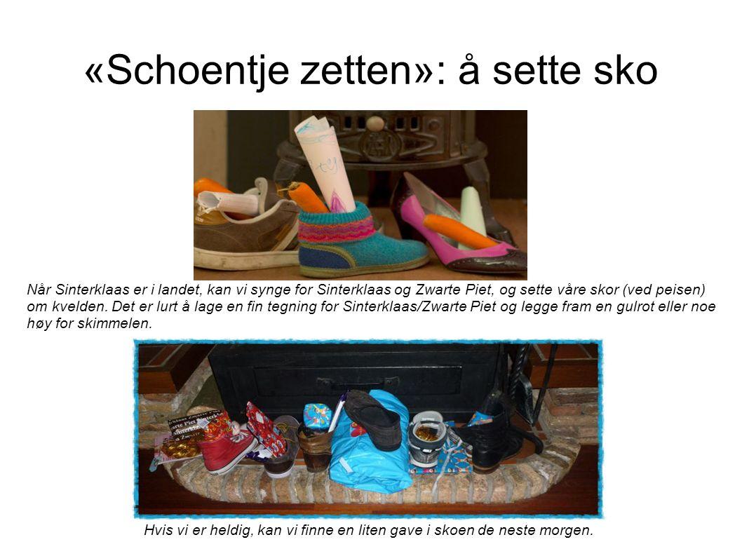 Over takene Zwarte Pieten kommer inn gjennom skorsteiner (derfor har de blitt svart) og legger små gavene, av og til et brev, for de som har sett sin sko.