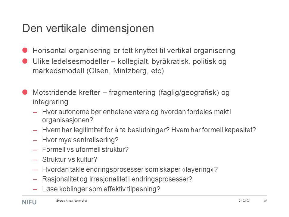 Den vertikale dimensjonen Horisontal organisering er tett knyttet til vertikal organisering Ulike ledelsesmodeller – kollegialt, byråkratisk, politisk og markedsmodell (Olsen, Mintzberg, etc) Motstridende krefter – fragmentering (faglig/geografisk) og integrering –Hvor autonome bør enhetene være og hvordan fordeles makt i organisasjonen.