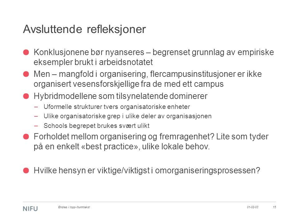 Avsluttende refleksjoner Konklusjonene bør nyanseres – begrenset grunnlag av empiriske eksempler brukt i arbeidsnotatet Men – mangfold i organisering,