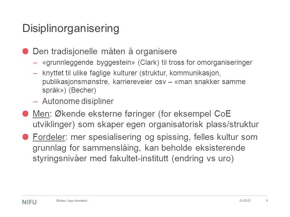 Disiplinorganisering Den tradisjonelle måten å organisere –«grunnleggende byggestein» (Clark) til tross for omorganiseringer –knyttet til ulike faglige kulturer (struktur, kommunikasjon, publikasjonsmønstre, karriereveier osv – «man snakker samme språk») (Becher) –Autonome disipliner Men: Økende eksterne føringer (for eksempel CoE utviklinger) som skaper egen organisatorisk plass/struktur Fordeler: mer spesialisering og spissing, felles kultur som grunnlag for sammenslåing, kan beholde eksisterende styringsnivåer med fakultet-institutt (endring vs uro) 01-02-03Endres i topp-/bunntekst6