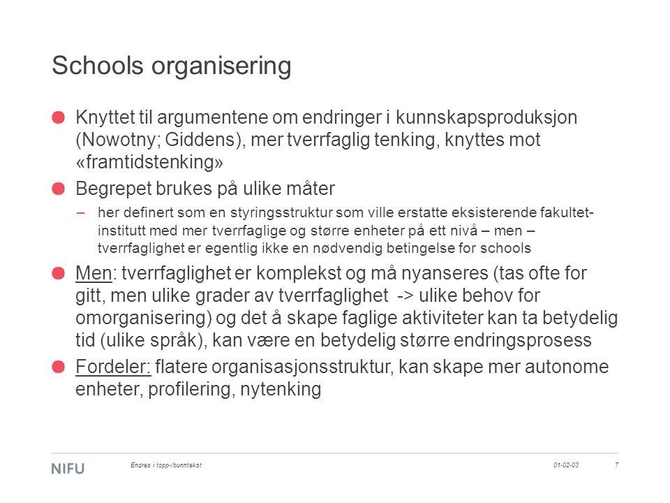 Schools organisering Knyttet til argumentene om endringer i kunnskapsproduksjon (Nowotny; Giddens), mer tverrfaglig tenking, knyttes mot «framtidstenk