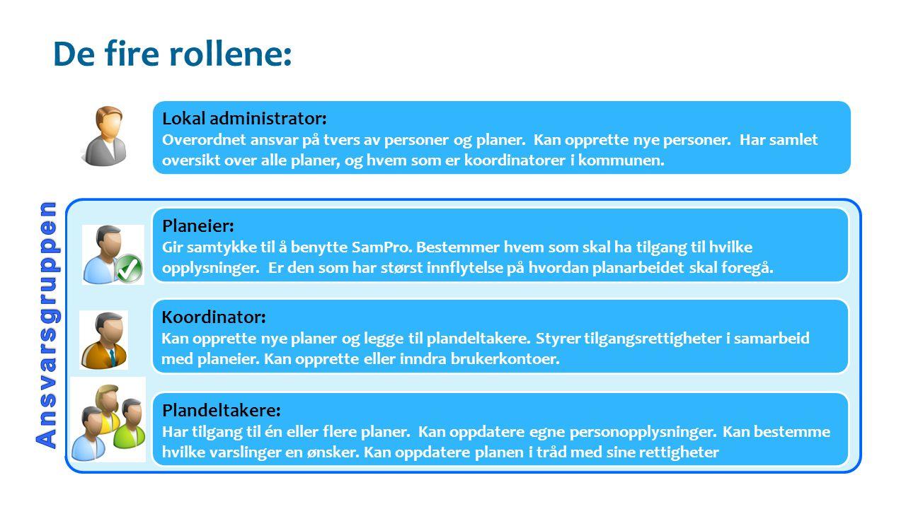 Lokal administrator: Overordnet ansvar på tvers av personer og planer.
