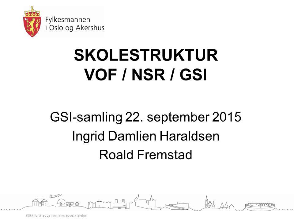 Klikk for å legge inn navn / epost / telefon SKOLESTRUKTUR VOF / NSR / GSI GSI-samling 22. september 2015 Ingrid Damlien Haraldsen Roald Fremstad