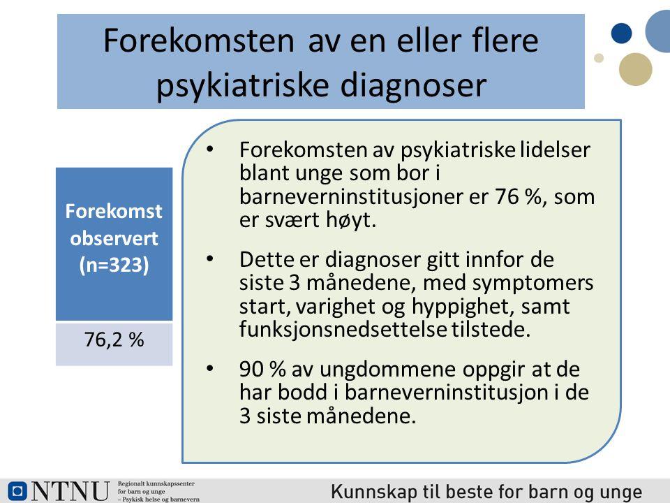 Psykiatrisk diagnoseN Observert forekomst Alvorlig depresjon (Major Depression) 33523.3 % Minst én angstlidelse Post-traumatisk stress (PTSD) 335 34.0 % 0.4 % Alvorlige Atferdsvansker (Conduct Disorders) 33519.1 ADHD total 39932.3 % Reaktiv tilknytningsforstyrrelse (RAD)323 21,1 % Asperger's syndrom 32323.2 % Stoff misbruk (Substance abuse) 335 11,9 %