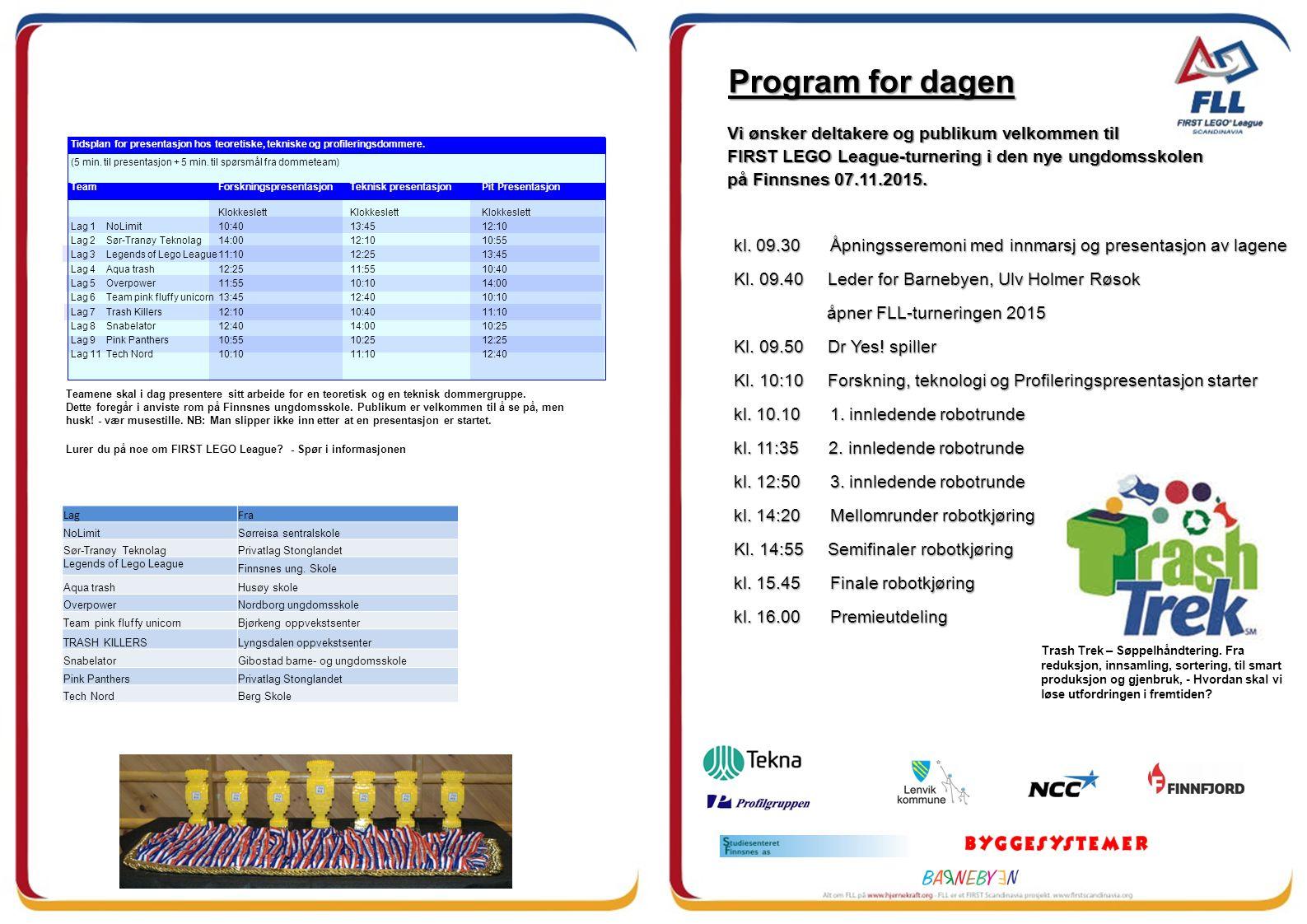 Vi ønsker deltakere og publikum velkommen til FIRST LEGO League-turnering i den nye ungdomsskolen på Finnsnes 07.11.2015.