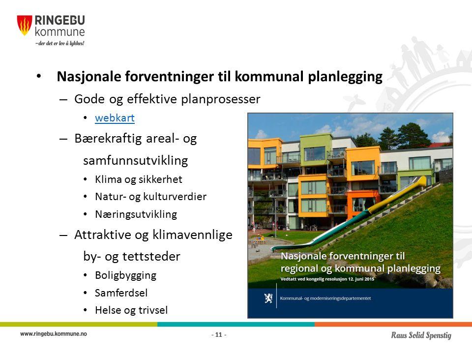 Nasjonale forventninger til kommunal planlegging – Gode og effektive planprosesser webkart – Bærekraftig areal- og samfunnsutvikling Klima og sikkerhet Natur- og kulturverdier Næringsutvikling – Attraktive og klimavennlige by- og tettsteder Boligbygging Samferdsel Helse og trivsel - 11 -