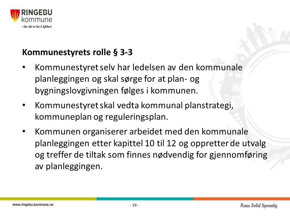 Kommunestyrets rolle § 3-3 Kommunestyret selv har ledelsen av den kommunale planleggingen og skal sørge for at plan- og bygningslovgivningen følges i kommunen.