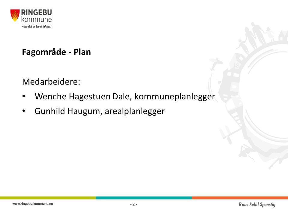 Fagområde - Plan Medarbeidere: Wenche Hagestuen Dale, kommuneplanlegger Gunhild Haugum, arealplanlegger - 2 -