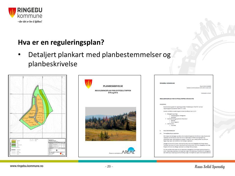 Hva er en reguleringsplan Detaljert plankart med planbestemmelser og planbeskrivelse - 23 -
