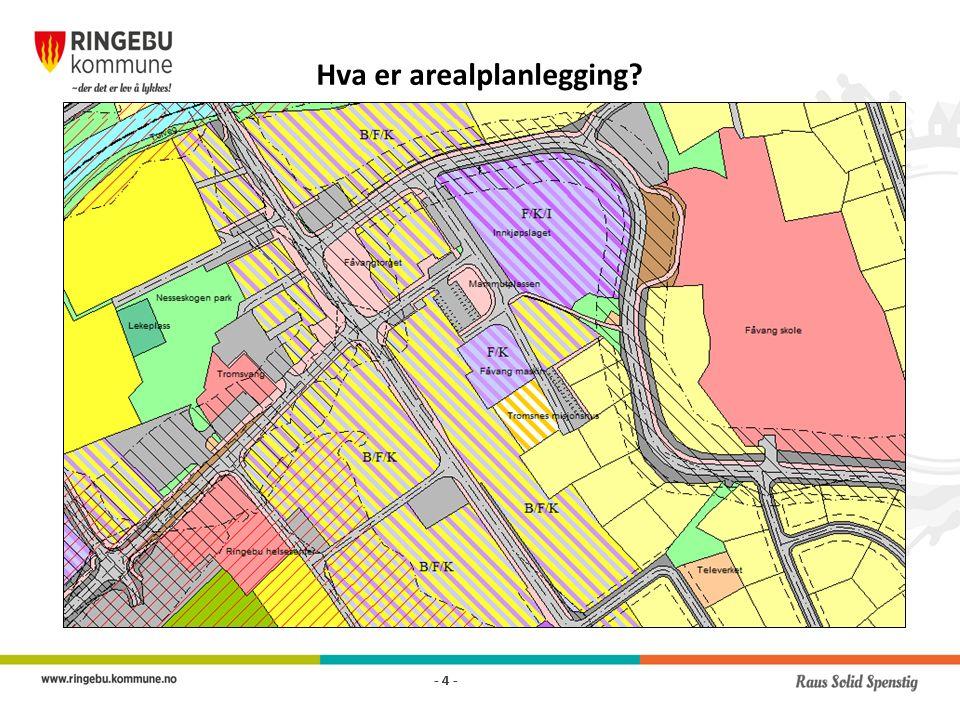 Arealdelen skal angi hovedtrekk i arealdisponering og gi rammer og betingelser og nye tiltak – Planbeskrivelse og planbestemmelser – Krav om utarbeiding av reguleringsplan for nye byggeområder – Føringer for detaljert planlegging, hvilke hensyn som skal vektlegges når delområder detaljplanlegges – Kan gis unntak fra detaljplanlegging for enkelte konkrete tiltak - 15 -