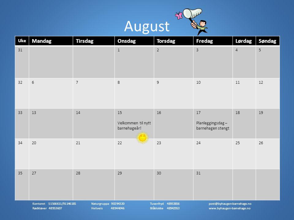Juli er en rolig måned i barnehagen der mange barn og voksne er på ferie.