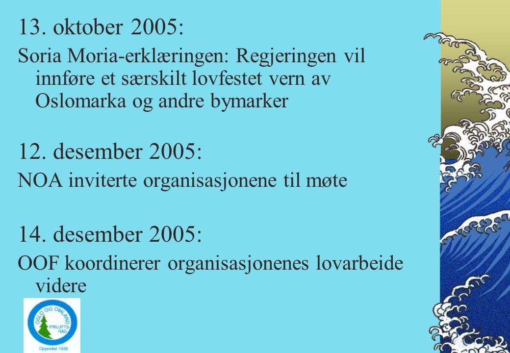 13. oktober 2005: Soria Moria-erklæringen: Regjeringen vil innføre et særskilt lovfestet vern av Oslomarka og andre bymarker 12. desember 2005: NOA in