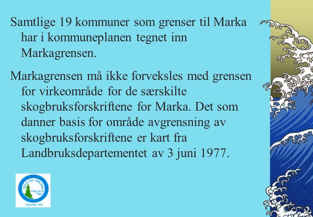 Dagens Markagrense er basert på Miljøverndepartementets forslag fra 1986, sist revidert av Markainspektøren 1996.