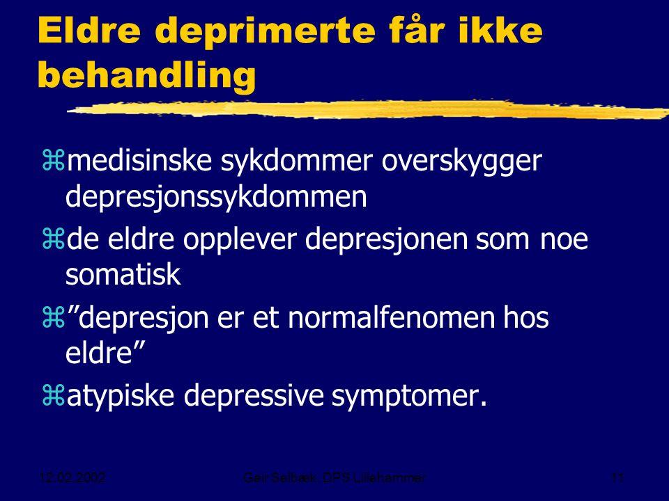 12.02.2002Geir Selbæk, DPS Lillehammer11 Eldre deprimerte får ikke behandling zmedisinske sykdommer overskygger depresjonssykdommen zde eldre opplever depresjonen som noe somatisk z depresjon er et normalfenomen hos eldre zatypiske depressive symptomer.