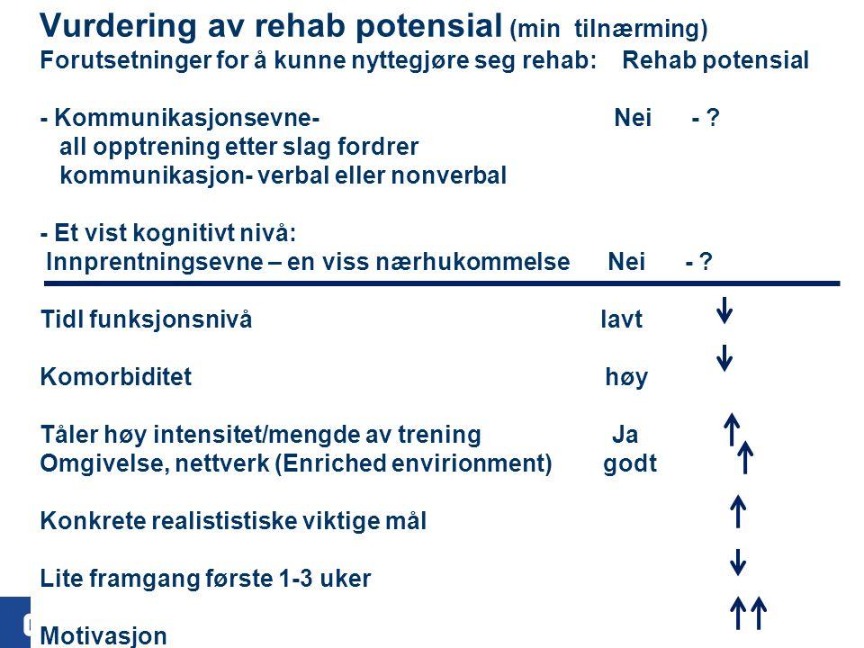 25 Vurdering av rehab potensial (min tilnærming) Forutsetninger for å kunne nyttegjøre seg rehab: Rehab potensial - Kommunikasjonsevne- Nei - .