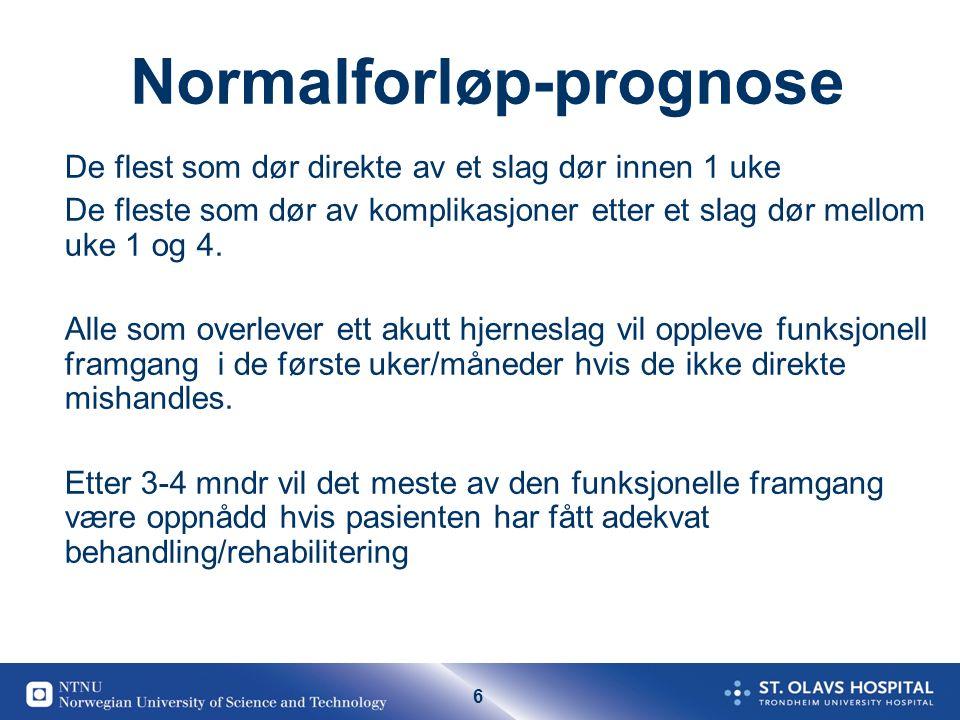 6 Normalforløp-prognose De flest som dør direkte av et slag dør innen 1 uke De fleste som dør av komplikasjoner etter et slag dør mellom uke 1 og 4.