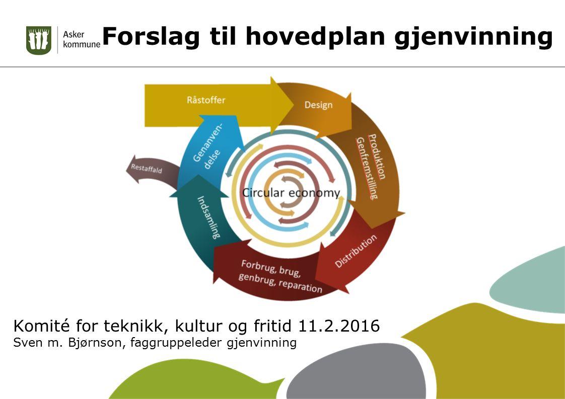 Forslag til hovedplan gjenvinning Komité for teknikk, kultur og fritid 11.2.2016 Sven m. Bjørnson, faggruppeleder gjenvinning
