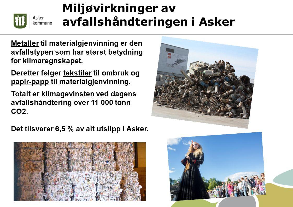 Miljøvirkninger av avfallshåndteringen i Asker Metaller til materialgjenvinning er den avfallstypen som har størst betydning for klimaregnskapet. Dere