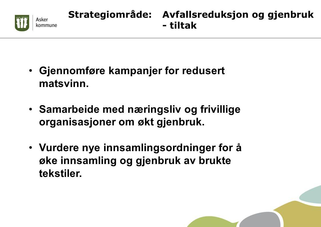 Strategiområde: Avfallsreduksjon og gjenbruk - tiltak Gjennomføre kampanjer for redusert matsvinn. Samarbeide med næringsliv og frivillige organisasjo