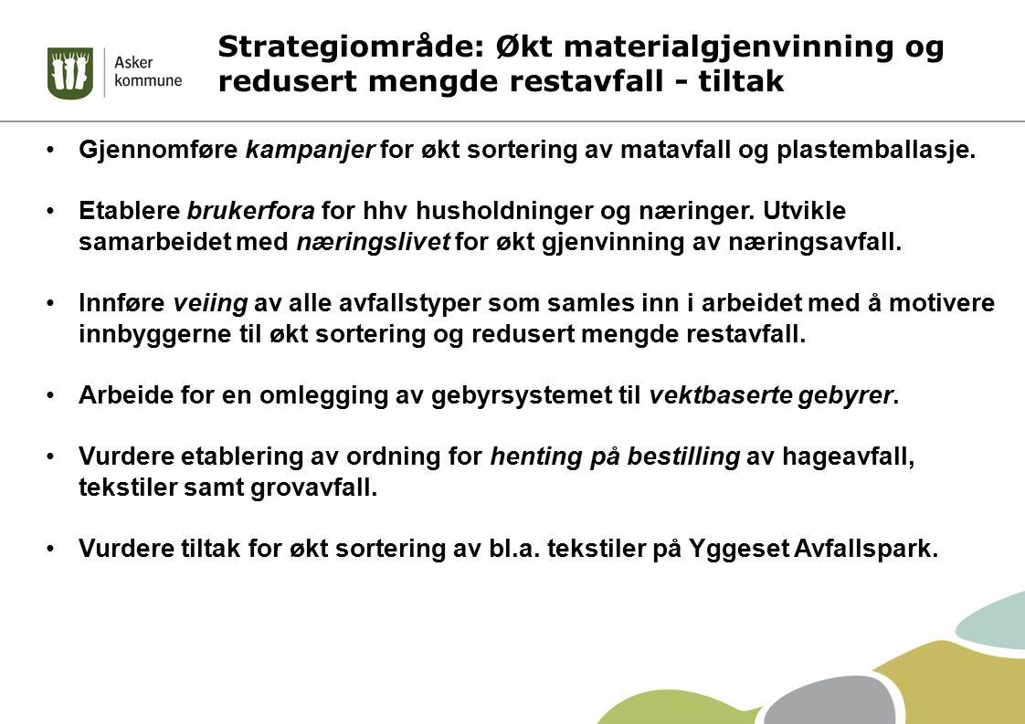 Strategiområde: Økt materialgjenvinning og redusert mengde restavfall - tiltak Gjennomføre kampanjer for økt sortering av matavfall og plastemballasje