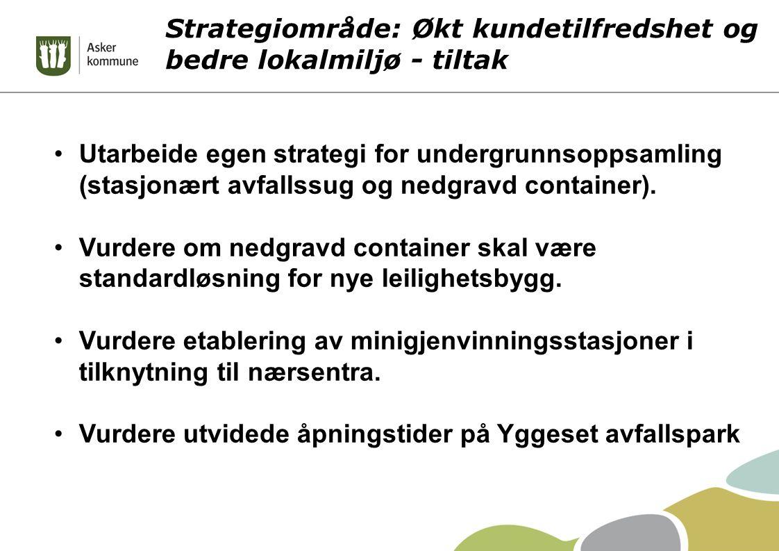 Strategiområde: Økt kundetilfredshet og bedre lokalmiljø - tiltak Utarbeide egen strategi for undergrunnsoppsamling (stasjonært avfallssug og nedgravd