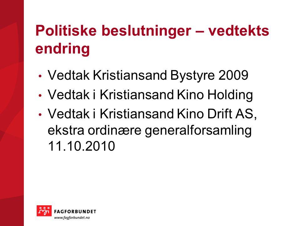 Politiske beslutninger – vedtekts endring Vedtak Kristiansand Bystyre 2009 Vedtak i Kristiansand Kino Holding Vedtak i Kristiansand Kino Drift AS, eks