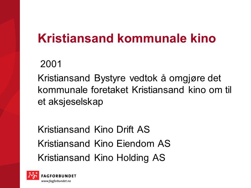 Kristiansand kommunale kino 2001 Kristiansand Bystyre vedtok å omgjøre det kommunale foretaket Kristiansand kino om til et aksjeselskap Kristiansand K