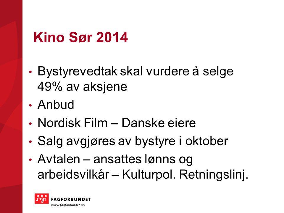Kino Sør 2014 Bystyrevedtak skal vurdere å selge 49% av aksjene Anbud Nordisk Film – Danske eiere Salg avgjøres av bystyre i oktober Avtalen – ansatte