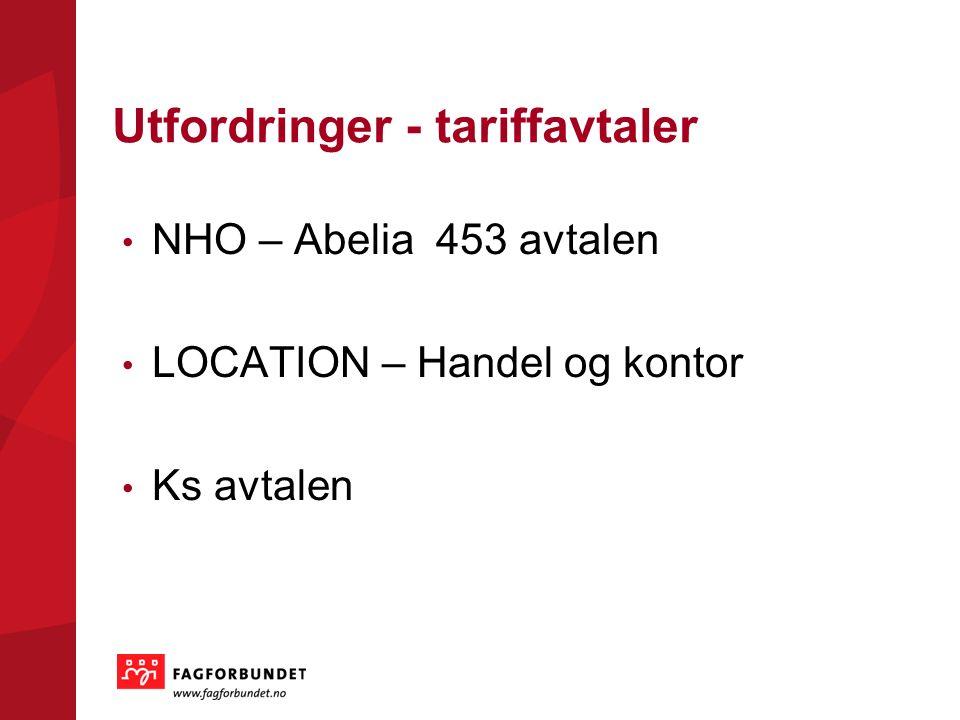 Utfordringer - tariffavtaler NHO – Abelia 453 avtalen LOCATION – Handel og kontor Ks avtalen