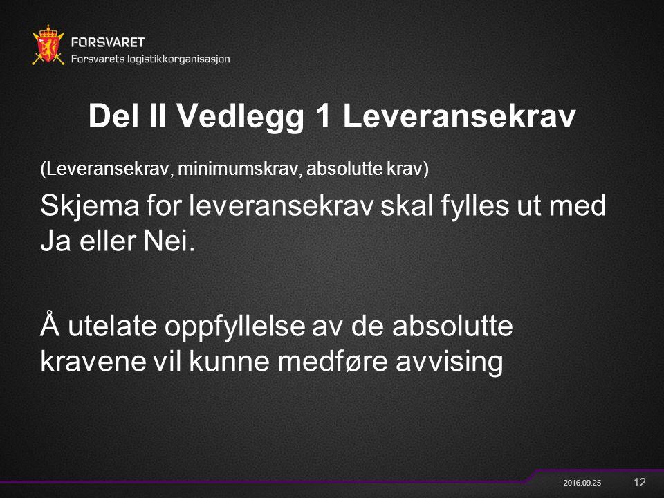 12 2016.09.25 Del II Vedlegg 1 Leveransekrav (Leveransekrav, minimumskrav, absolutte krav) Skjema for leveransekrav skal fylles ut med Ja eller Nei. Å