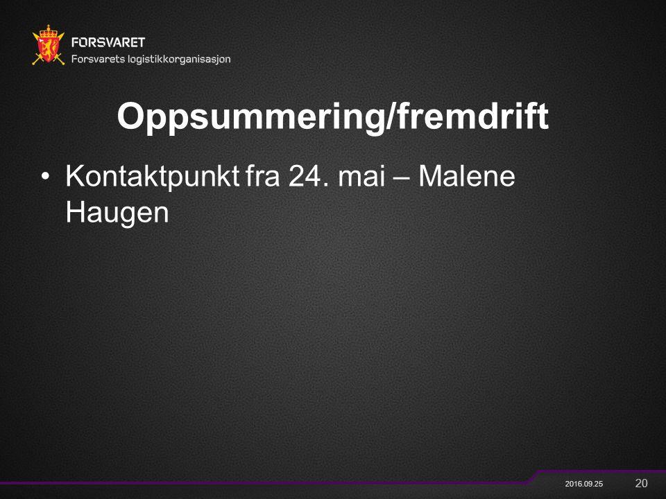 20 2016.09.25 Oppsummering/fremdrift Kontaktpunkt fra 24. mai – Malene Haugen