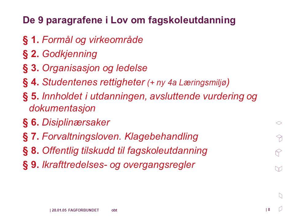 | 28.01.05 FAGFORBUNDET obt | 8 De 9 paragrafene i Lov om fagskoleutdanning § 1.