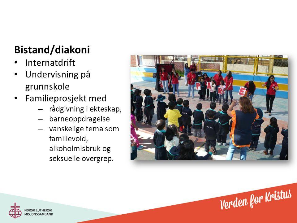 Bistand/diakoni Internatdrift Undervisning på grunnskole Familieprosjekt med – rådgivning i ekteskap, – barneoppdragelse – vanskelige tema som familievold, alkoholmisbruk og seksuelle overgrep.