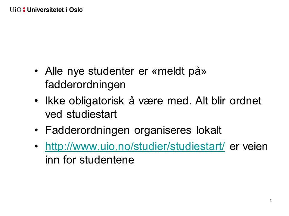 3 Alle nye studenter er «meldt på» fadderordningen Ikke obligatorisk å være med.