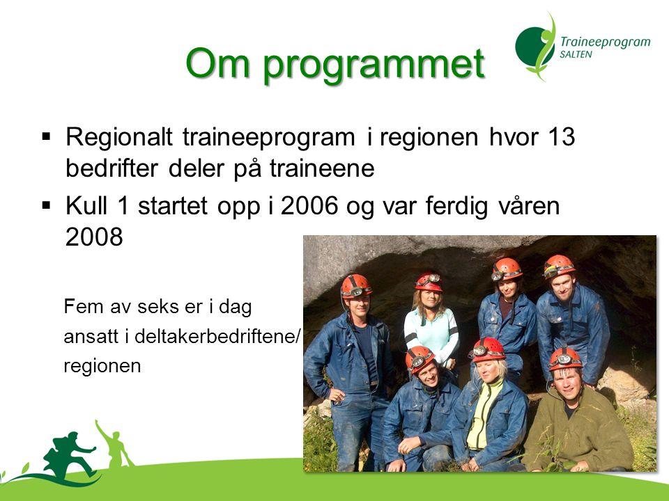  Regionalt traineeprogram i regionen hvor 13 bedrifter deler på traineene  Kull 1 startet opp i 2006 og var ferdig våren 2008 Fem av seks er i dag ansatt i deltakerbedriftene/ regionen Om programmet