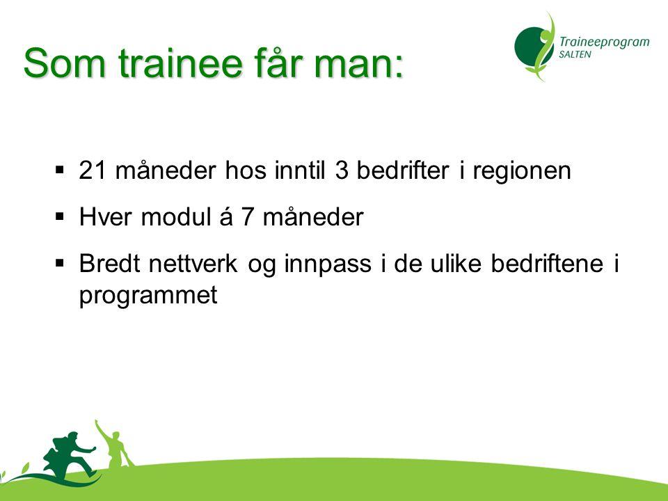 Som trainee får man:  21 måneder hos inntil 3 bedrifter i regionen  Hver modul á 7 måneder  Bredt nettverk og innpass i de ulike bedriftene i programmet