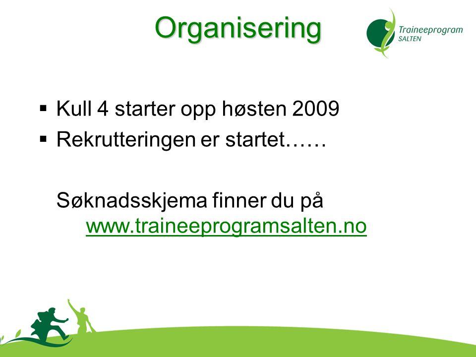  Kull 4 starter opp høsten 2009  Rekrutteringen er startet…… Søknadsskjema finner du på www.traineeprogramsalten.no Organisering