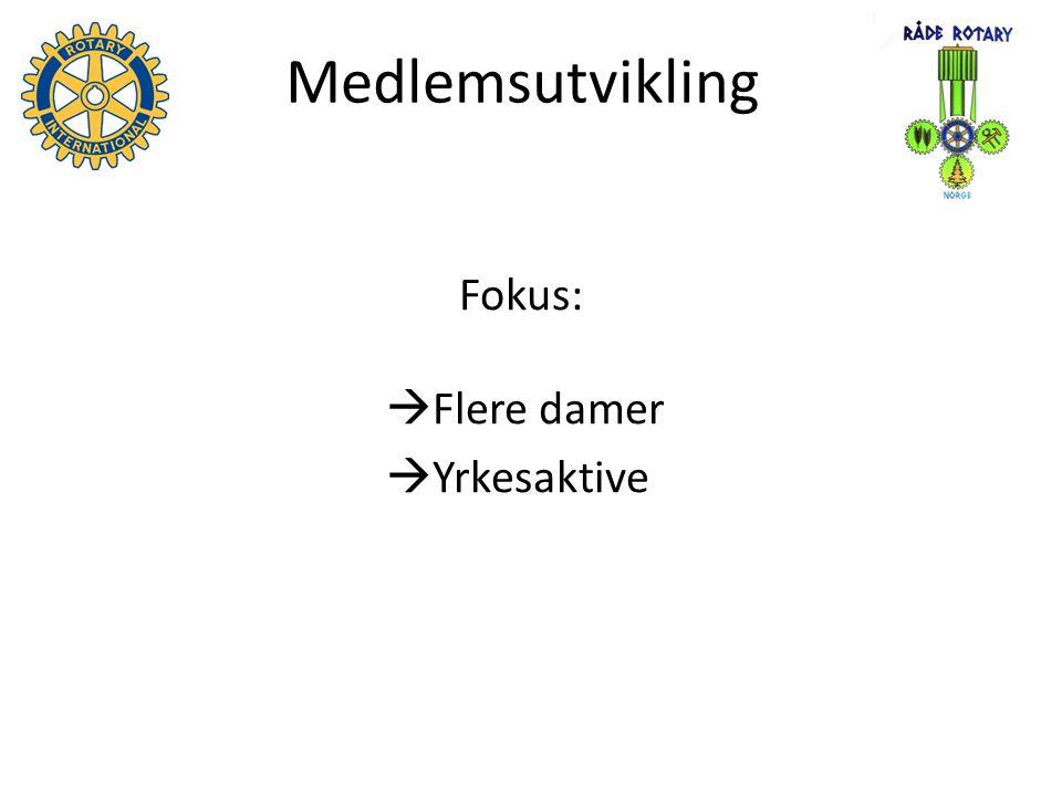 Medlemsutvikling Fokus:  Flere damer  Yrkesaktive